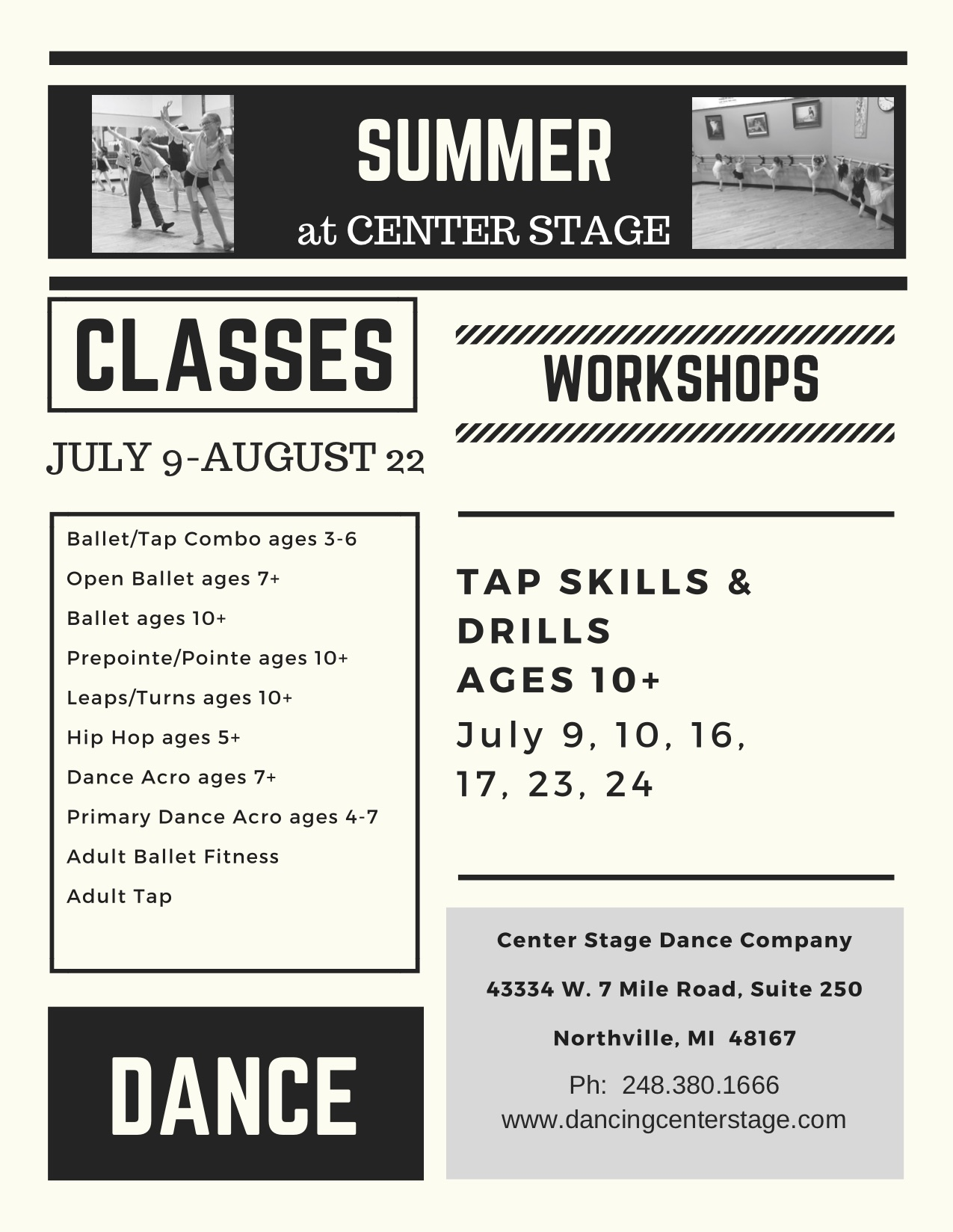 summer dance classes, camps and workshops flyer